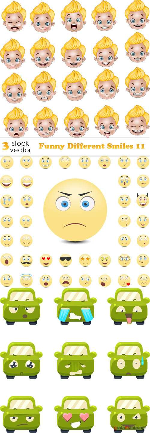 Vectors - Funny Different Smiles 11