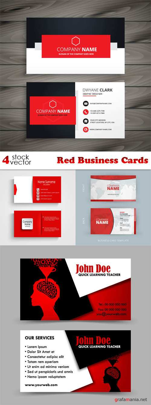 Vectors - Red Business Cards