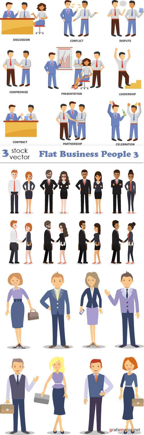 Vectors - Flat Business People 3