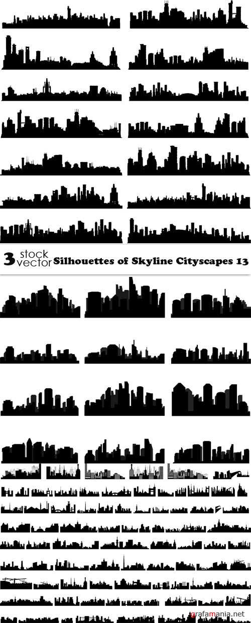Vectors - Silhouettes of Skyline Cityscapes 13