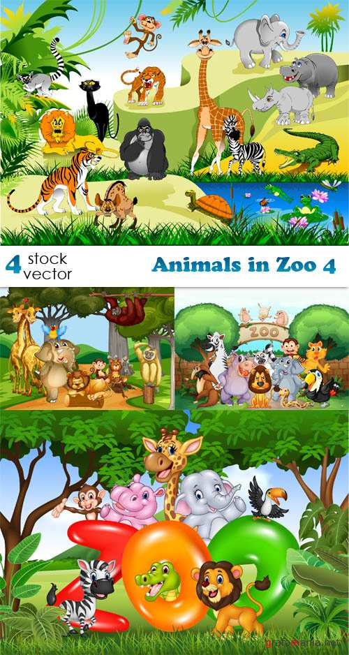 Vectors - Animals in Zoo 4