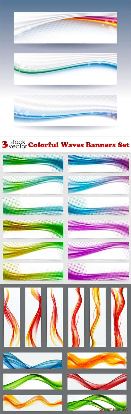 Vectors - Colorful Waves Banners Set
