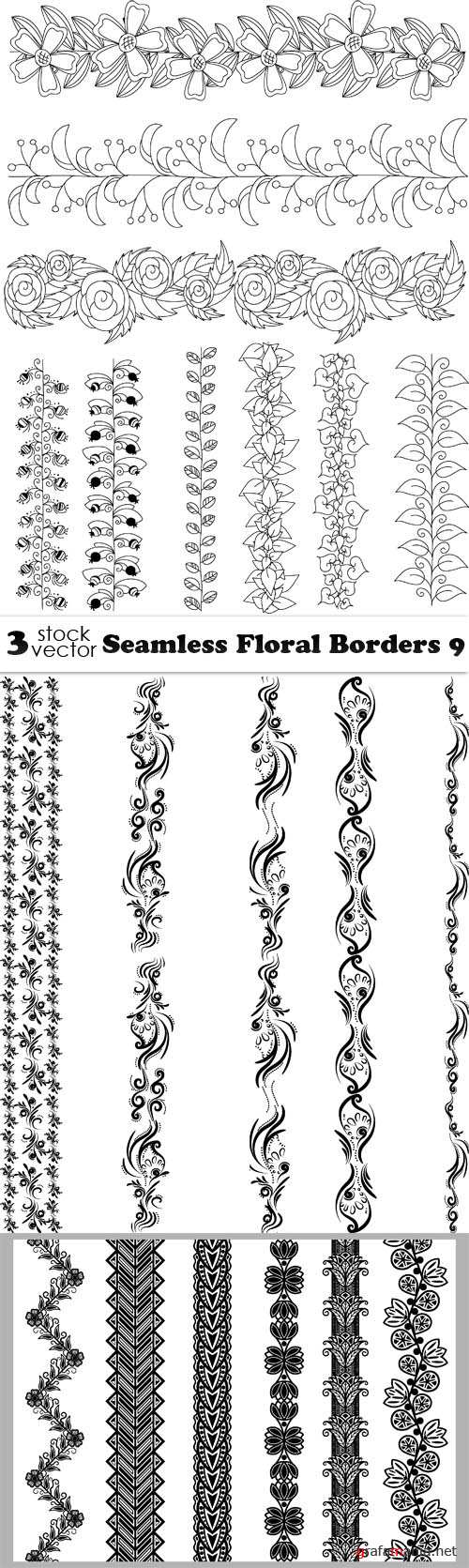 Vectors - Seamless Floral Borders 9