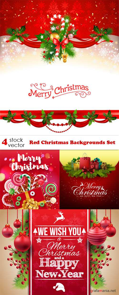 Vectors - Red Christmas Backgrounds Set
