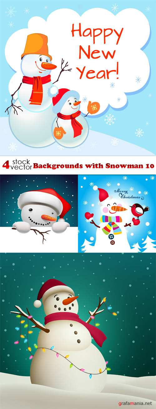 Vectors - Backgrounds with Snowman 10