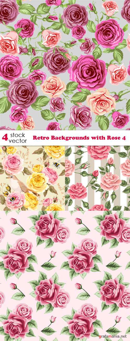 Vectors - Retro Backgrounds with Rose 4