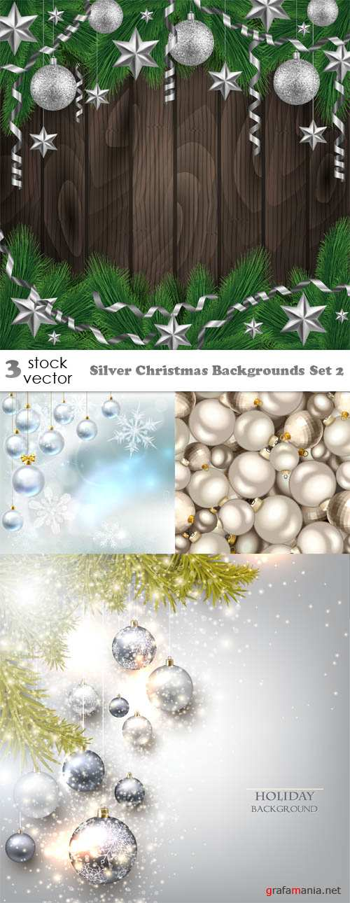 Vectors - Silver Christmas Backgrounds Set 2