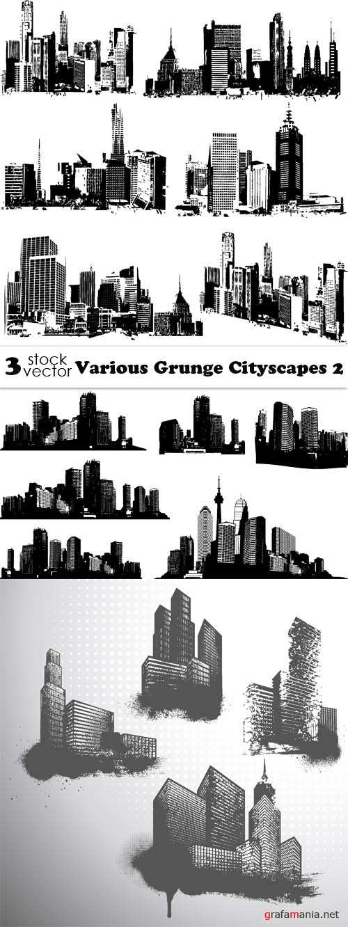 Vectors - Various Grunge Cityscapes 2