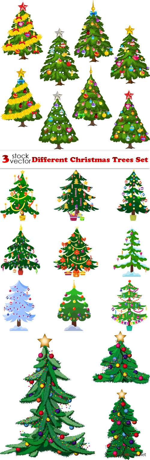 Vectors - Different Christmas Trees Set