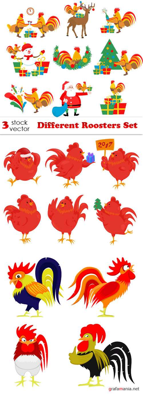 Vectors - Different Roosters Set