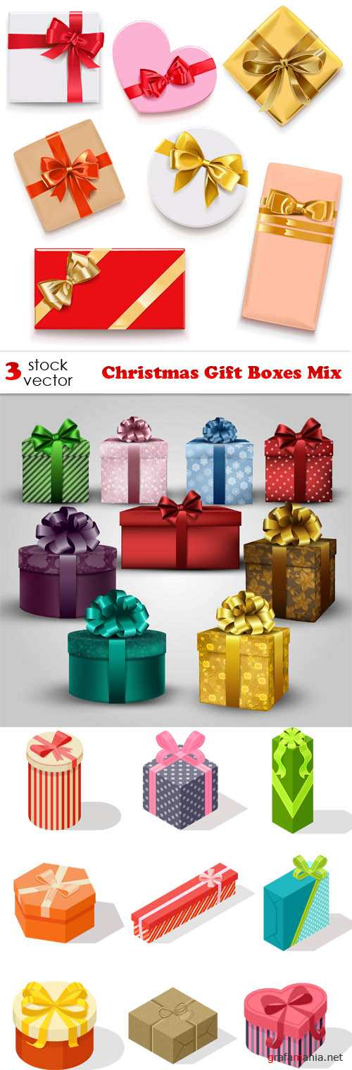 Vectors - Christmas Gift Boxes Mix