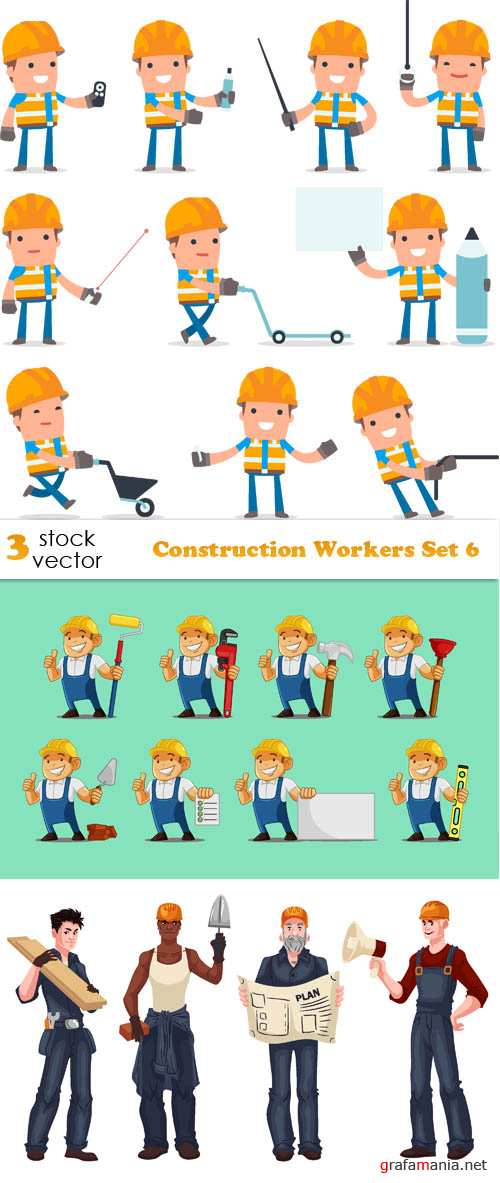 Vectors - Construction Workers Set 6