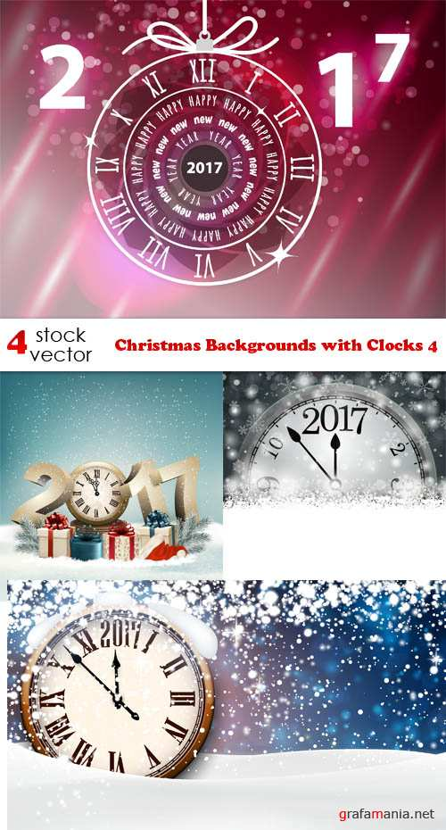 Vectors - Christmas Backgrounds with Clocks 4