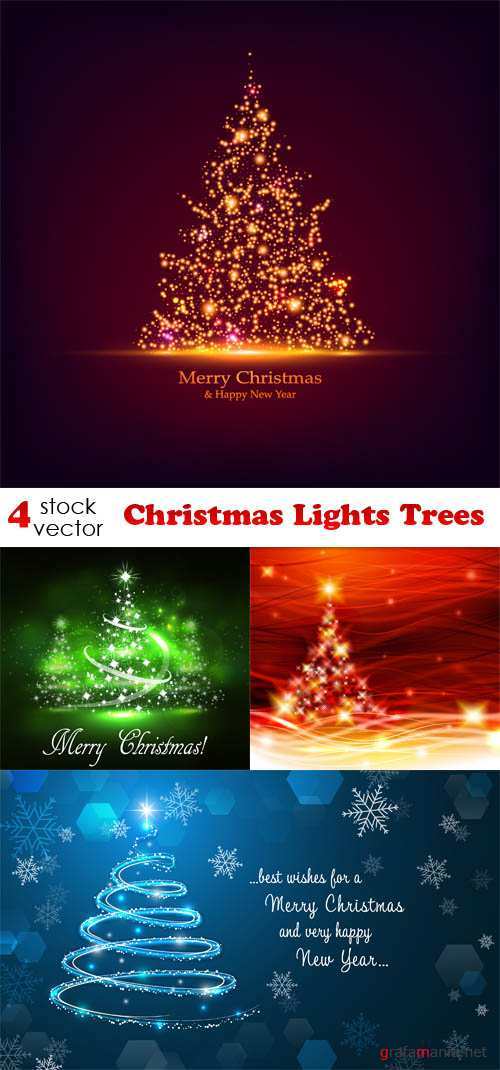 Vectors - Christmas Lights Trees