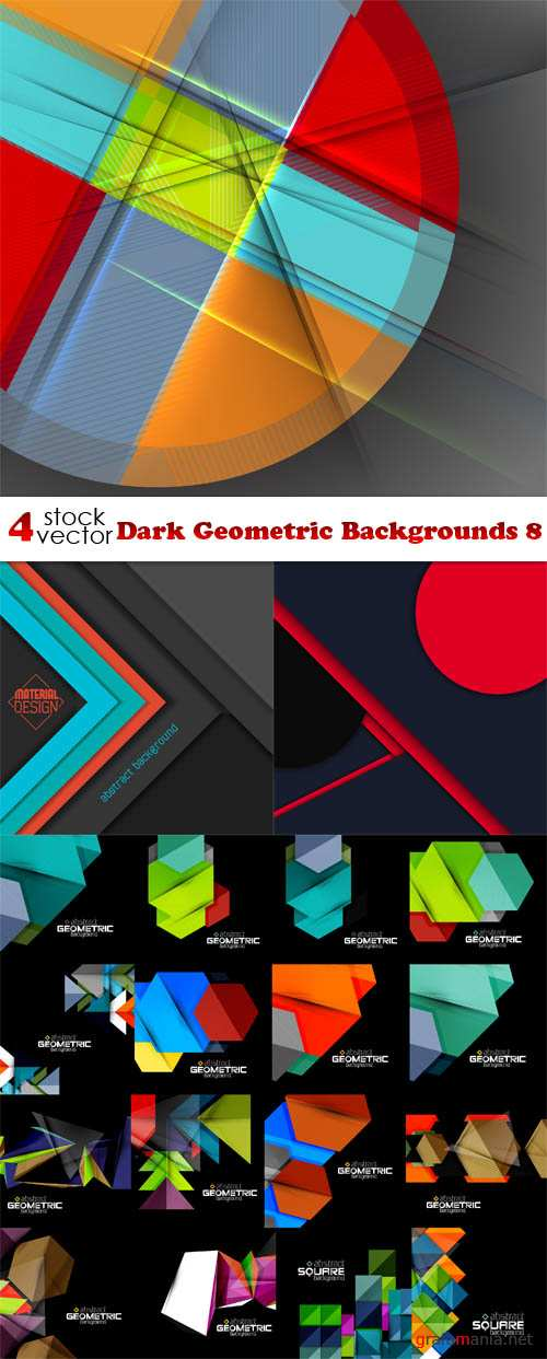 Vectors - Dark Geometric Backgrounds 8