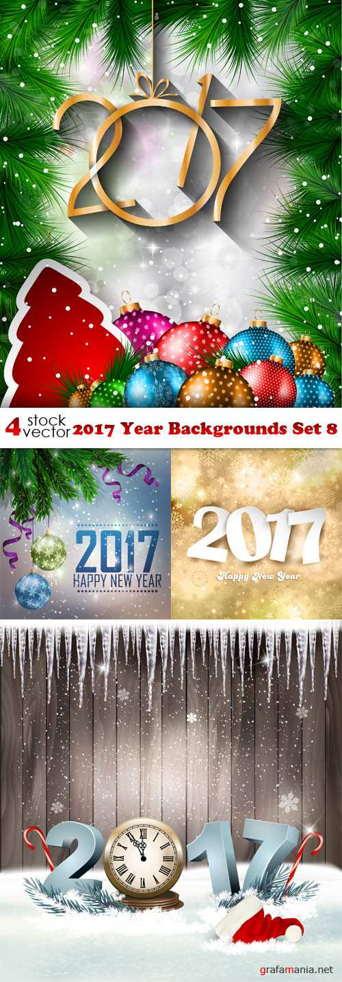 Vectors - 2017 Year Backgrounds Set 8