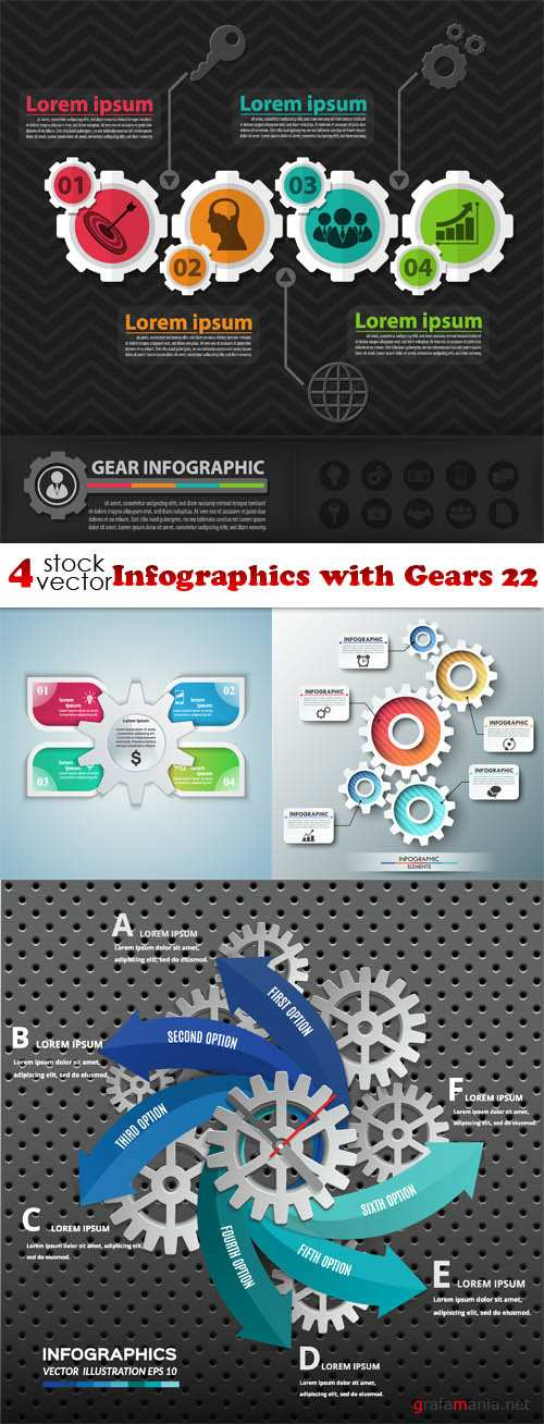 Vectors - Infographics with Gears 22