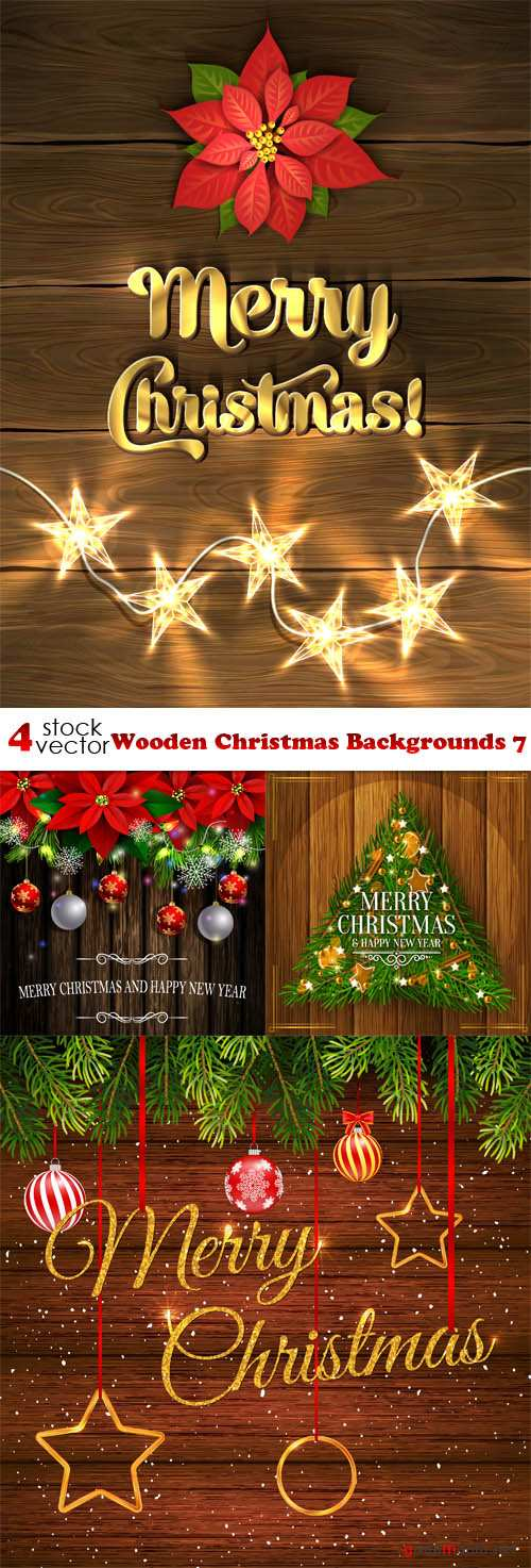 Vectors - Wooden Christmas Backgrounds 7