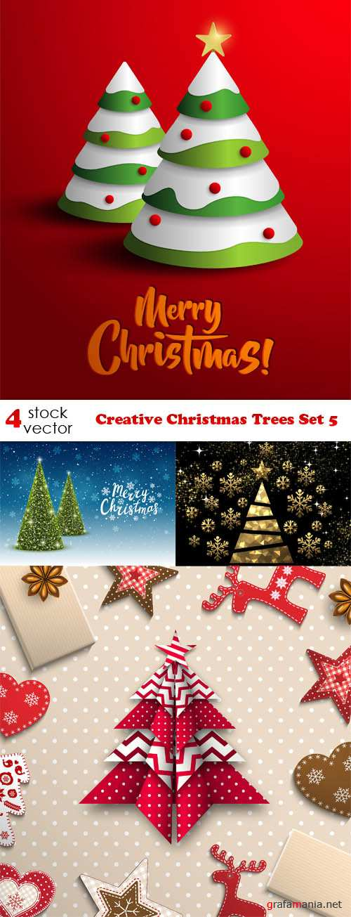 Vectors - Creative Christmas Trees Set 5