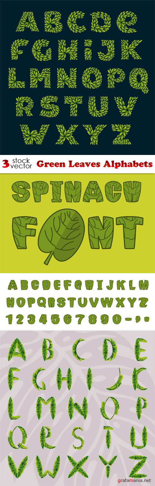 Vectors - Green Leaves Alphabets