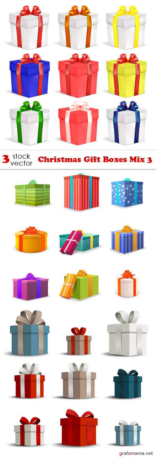 Vectors - Christmas Gift Boxes Mix 3