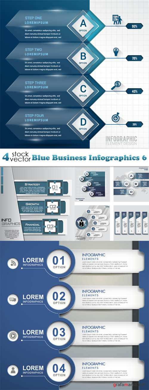 Vectors - Blue Business Infographics 6