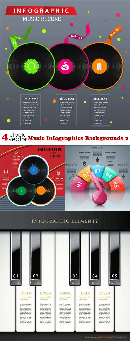 Vectors - Music Infographics Backgrounds 2