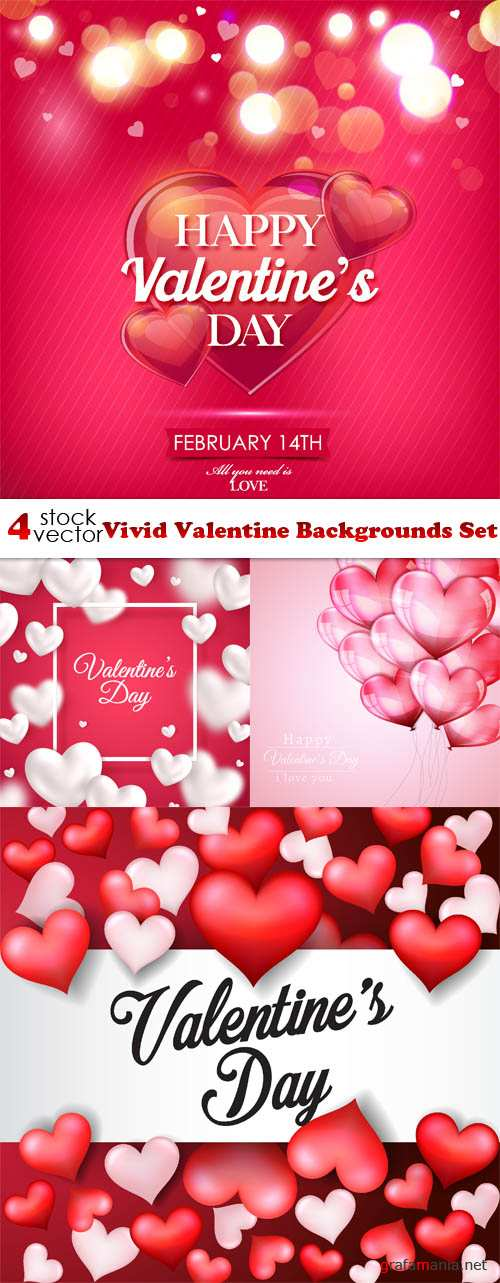 Vectors - Vivid Valentine Backgrounds Set