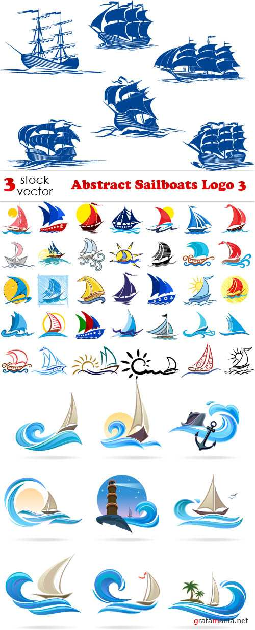Vectors - Abstract Sailboats Logo 3