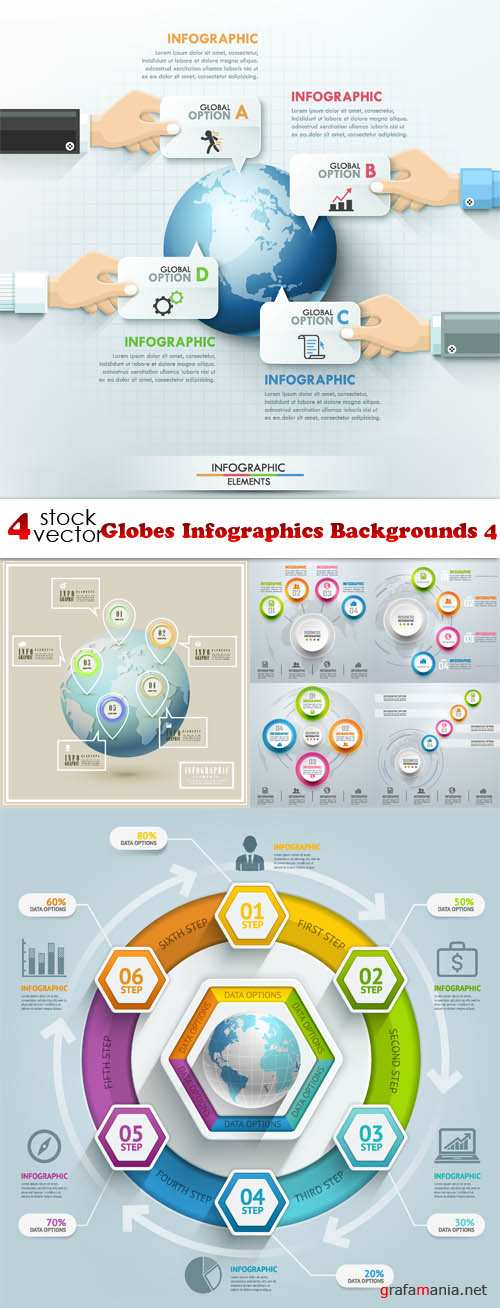 Vectors - Globes Infographics Backgrounds 4