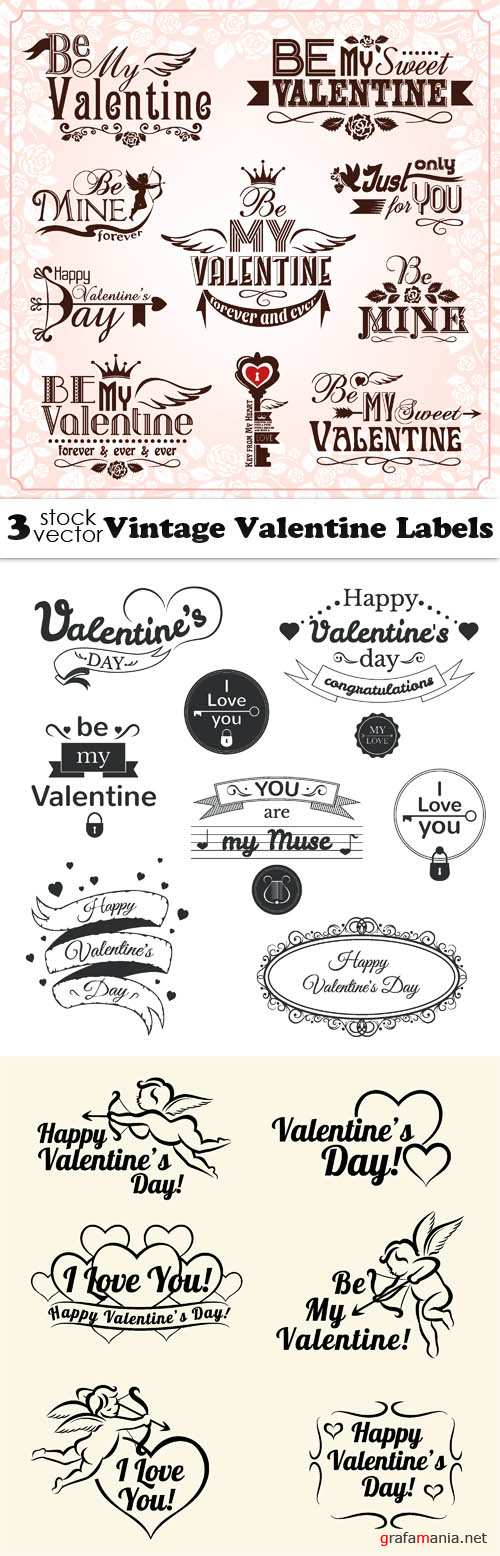 Vectors - Vintage Valentine Labels