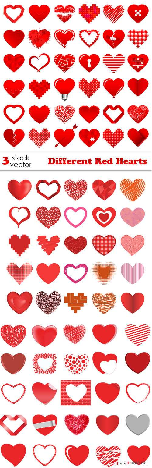 Vectors - Different Red Hearts