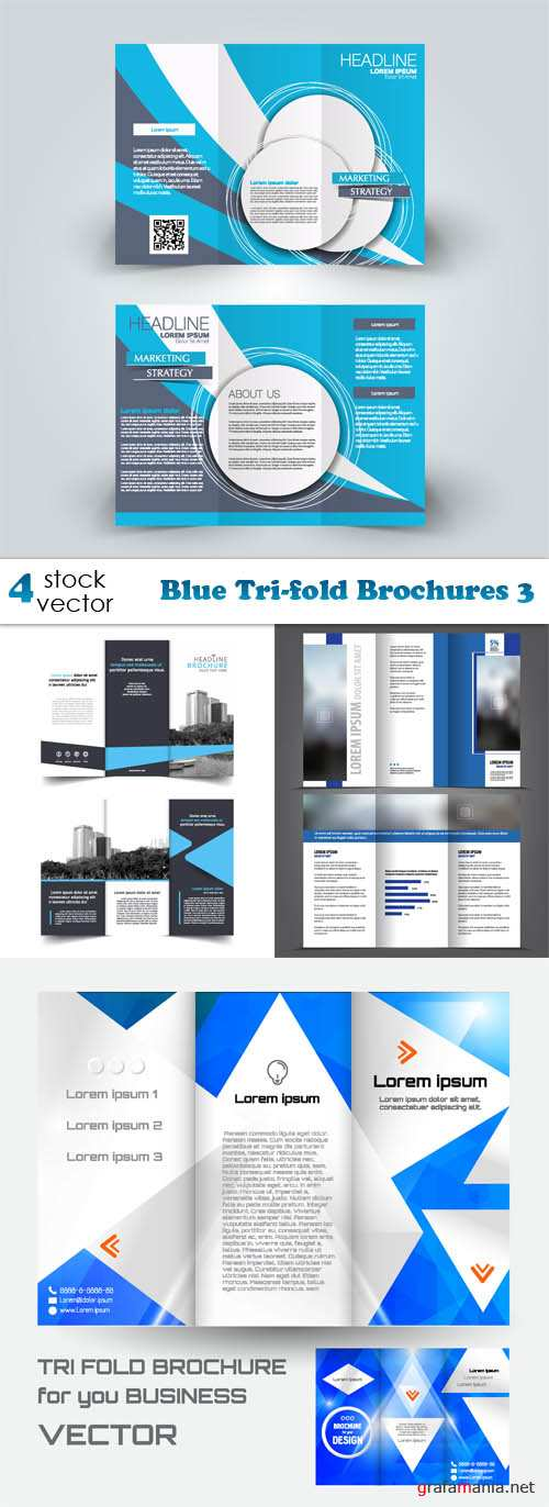 Vectors - Blue Tri-fold Brochures 3