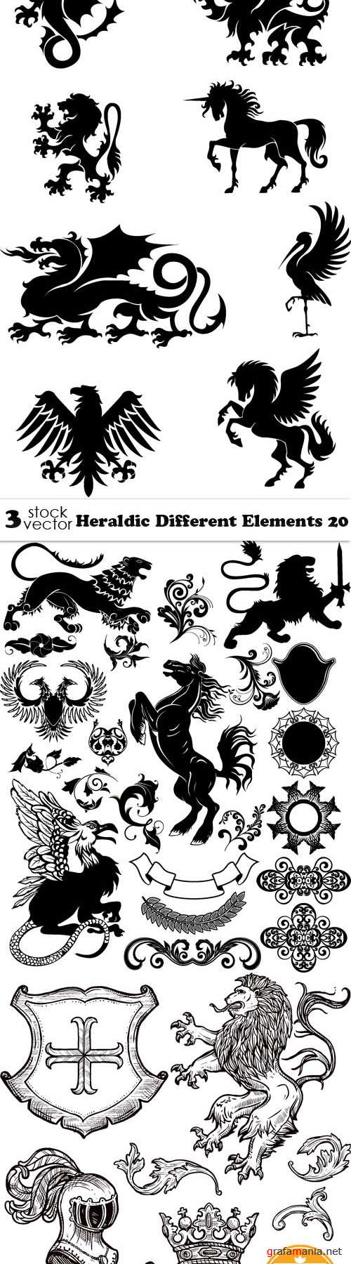 Vectors - Heraldic Different Elements 20