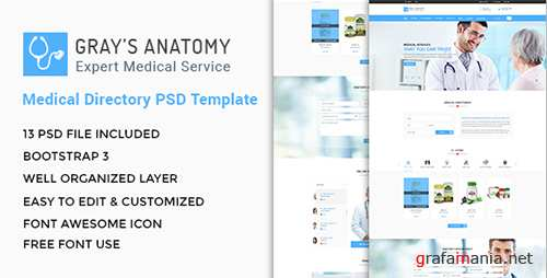 ThemeForest - Gray's Anatomy - Medical Directory PSD Template - 18122750