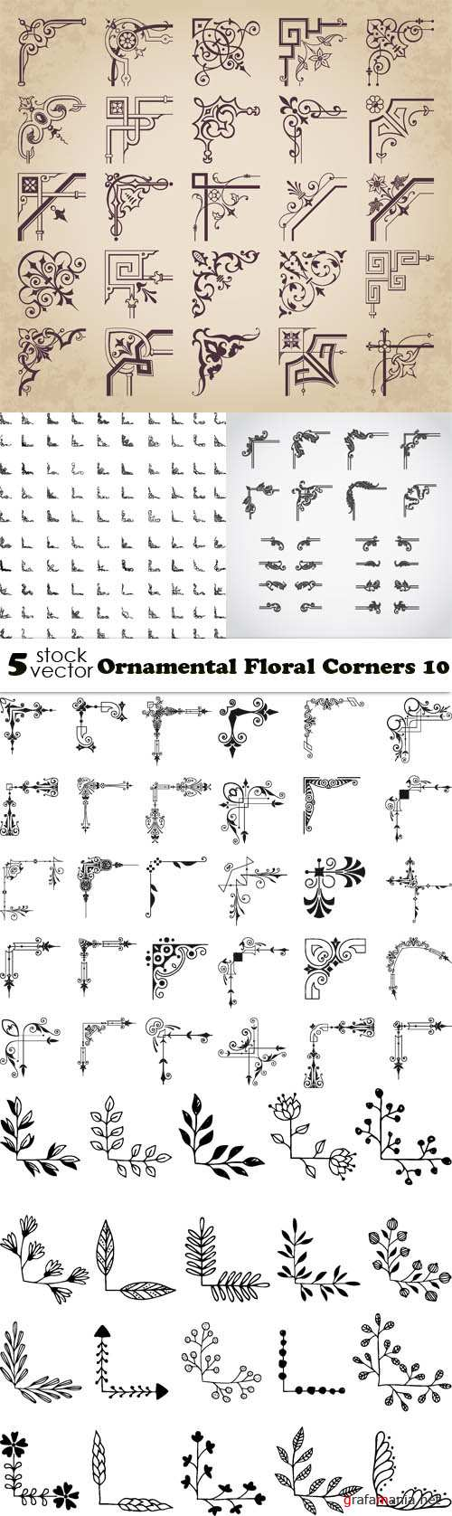 Vectors - Ornamental Floral Corners 10