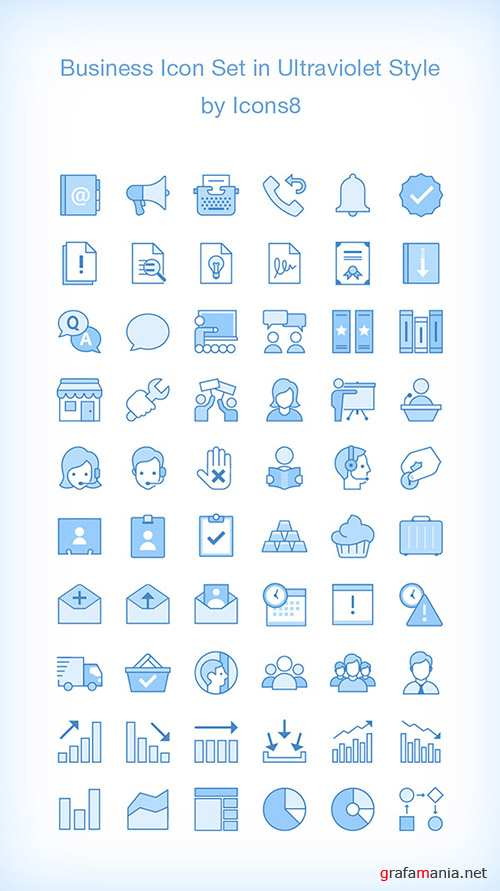 AI, EPS, PDF, PNG Web Icons - 60 Business Icons - Ultraviolet