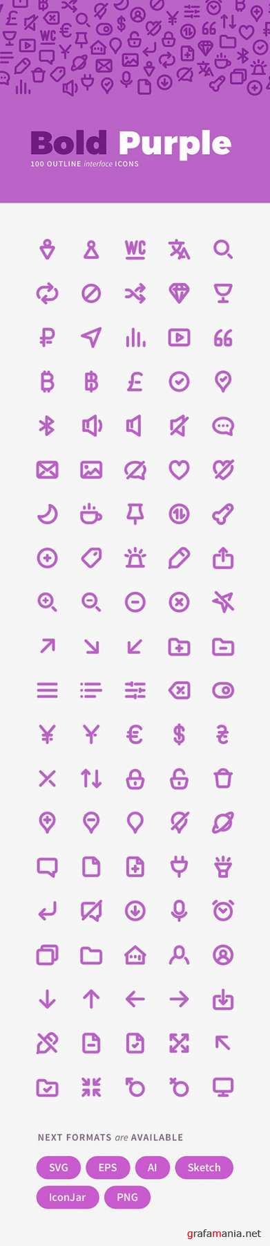AI, EPS, PNG, SVG Vector Web Icons - Bold Purple
