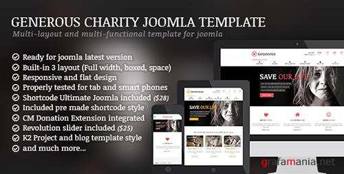 ThemeForest - Generous v1.4.2 - Charity / Non-Profit / Orphan / Fund-raising / Crowd-funding Joomla Template - 10329259