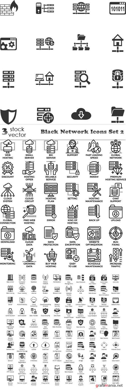 Vectors - Black Network Icons Set 2