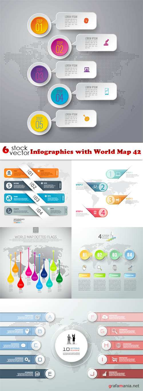 Vectors - Infographics with World Map 42