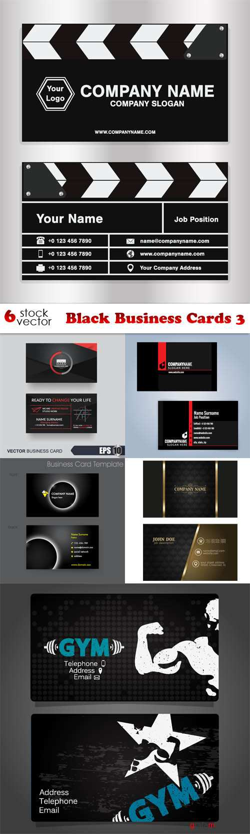 Vectors - Black Business Cards 3