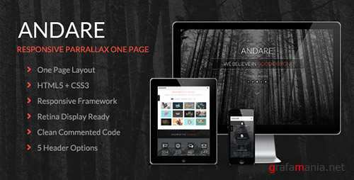 ThemeForest - Andare - Parallax One Page HTML Template (Update: 20 June 15) - 7617329