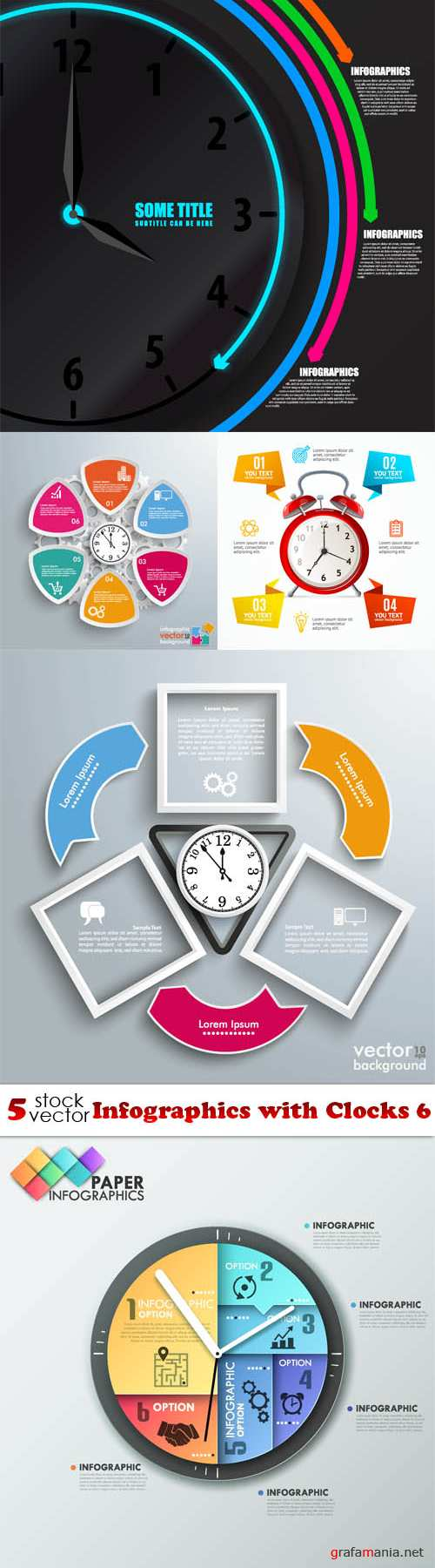Vectors - Infographics with Clocks 6