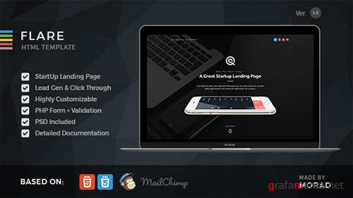 ThemeForest - Flare v1.0 - HTML Startup Landing Page Template - 14293134