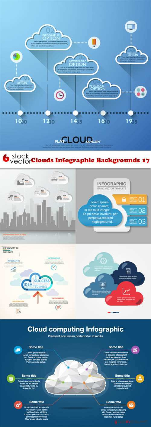 Vectors - Clouds Infographic Backgrounds 17
