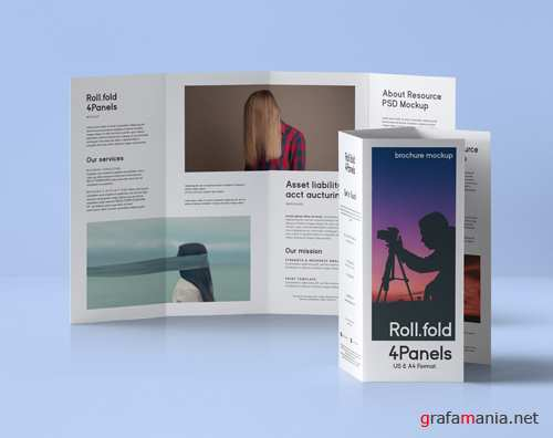 Roll Fold Brochure Mockup US A4