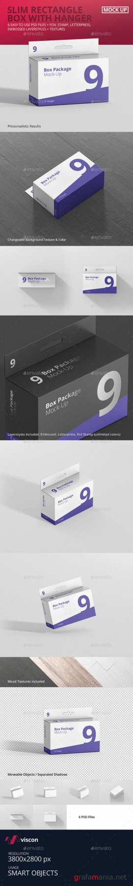 Package Box Mockup - Slim Rectangle with Hanger 18841669