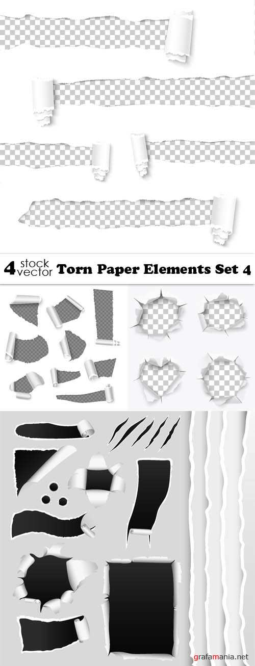 Vectors - Torn Paper Elements Set 4