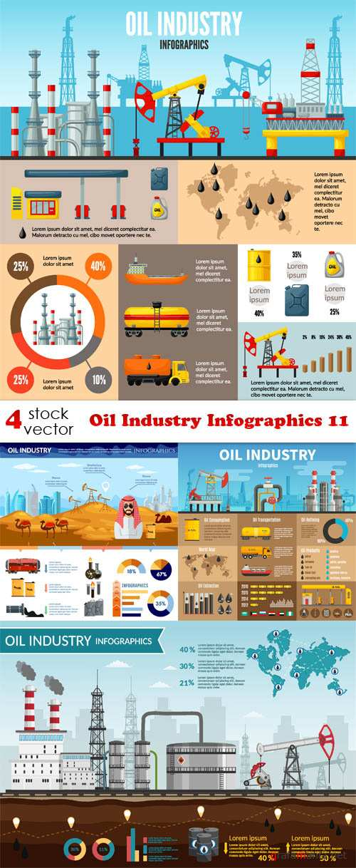 Vectors - Oil Industry Infographics 11
